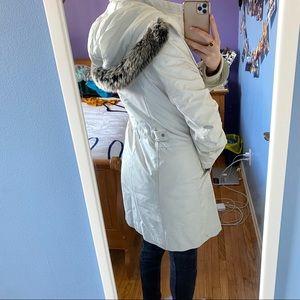Danier White Leather Winter Coat